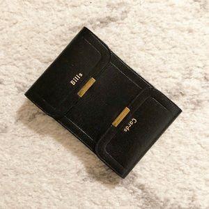 Vintage black leather Bills & Cash billfold wallet